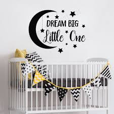 Wall Decor Baby Brown Xs Moon And Stars Nursery Wall Decal Kids Room Wall Decor Baby Room Sticker Dream Big Little One Wall Decal