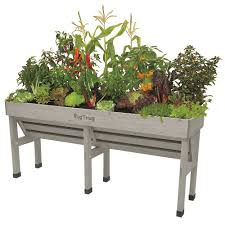 Vegtrug Grey Wash Wall Hugger Raised Garden Bed Planter Medium The Home Depot Canada