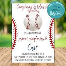 Primeras Invitaciones De Cumpleanos De Beisbol Editables Para Nino