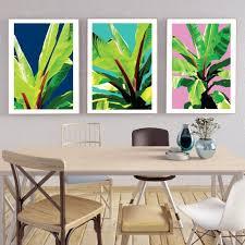 tropical garden art prints set of 3