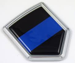 Police Blue Line 3d Chrome Flag Crest Emblem Car Decal Seethrugraphics And Chrome Car Badges