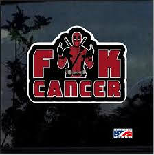 Deadpool Fuck Cancer Full Color Decal Sticker Custom Sticker Shop