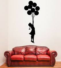 Wall Stickers Birthday Girl With Balloons Sticker Happy Banksy Party Vinyl Decal Ebay
