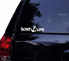 Amazon Com Boat Life Fishing Anchor Vinyl Car Decal Laptop Decal Car Window Sticker Wall Boat 14in White Automotive
