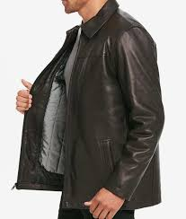 casual mens black leather shirt style