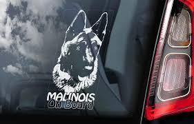 Malinois On Board Car Window Sticker Belgian Mechelse Herder Pastor Dog Sign Decal V02 Car Window Stickers Dog Signs Window Stickers