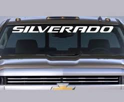 Product Chevrolet Silverado Windshield Graphic Vinyl Decal Sticker Vehicle Logo White