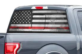 Ford Raptor Rear Window Decals Thin Red Line Racerx Customs Truck Graphics Grilles And Accessories
