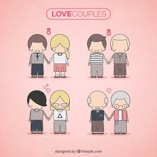 cute love couples free vector