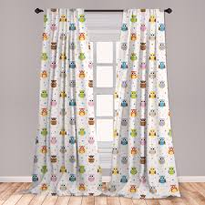 East Urban Home Ambesonne Owls Curtains Angry And Funny Cartoon Mascots With Colorful Dots Childish Kids Design Pattern Window Treatments 2 Panel Set For Living Room Bedroom Decor 56 X 63 Multicolor