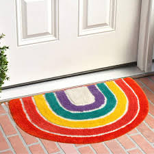 Amazon Com Bath Rug Rainbow Bath Mat Soft Bathroom Rugs Childrens Room Decor Rug Thick Super Soft Shaggy Carpet Kitchen Dining