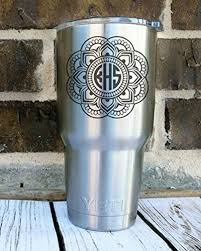 Amazon Com Custom Mandala Monogram Decal Sticker Monogrammed Vinyl Decal For Yeti Tumbler Rtic Cup Laptop Car Window Accessories For Women You Choose Size Initials And Color Glitter Options Available Handmade