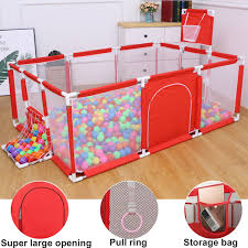 91x48x25 Inch Children S Play Fence Portable Child Playpen Rectangle Toddlers Play Yard With Door Activity Center Child Play Game Fence Anti Fall Play Pen Blue Red Balls Not Included Walmart Com Walmart Com