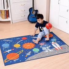 Kids Rug Educational Learning Carpet Galaxy Planets Stars Blue Petagadget