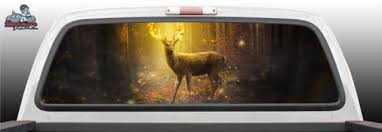 Deer Fantasy Forest Hunting Hunter Gray Scale Grayscale Tattoo Graphic Window Perf Perforated Wrap Vinyl Decal Truck Pickup Suv