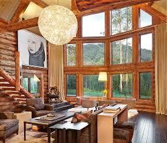 rustic log retreat blends modern
