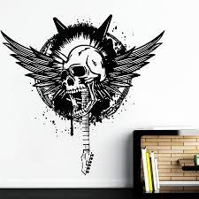 Ik968 Wall Decal Sticker Skull Wings Bass Guitar Rock Punk Heavy Metal Stickersforlife