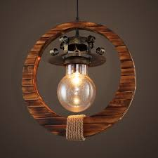 bare bulb pendant light with wood ring