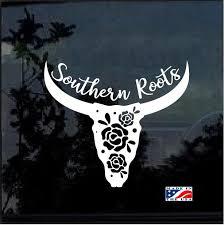 Southern Roots Longhorn Skull Window Decal Sticker Custom Sticker Shop