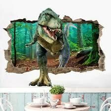 3d Broken Wall Dinosaur Stickers Pvc Kids Room Wall Mural Home Decals Cxz Ebay