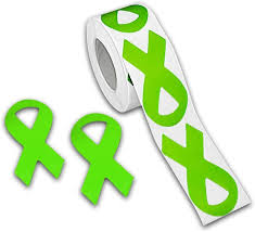 Amazon Com Fundraising For A Cause Large Lime Green Ribbon Stickers Lime Green Ribbon Awareness Stickers For Fundraisers Awareness Events 1 Roll 250 Stickers Arts Crafts Sewing