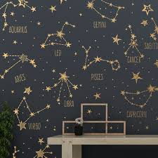 Hand Drawn Zodiac Constellations And Star Decals Large Etsy In 2020 Star Wall Decals Constellations Wall Decals