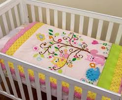 owl pink nursery set by classic quilts