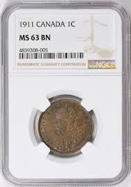 canada 1911 cent km 15 ngc ms 63 bn