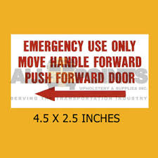 Decal Emergency Use Only 4 5x2 5 Red On White Bus Part All Points Bus