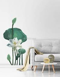 Watercolor White Lotus Floral And Leaves Wall Decal Sticker Wall Decals Wallmur