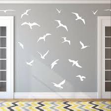 Seagulls Set Of 18 Vinyl Wall Decals Beach Wall Decor Bird Wall De Cuttin Up Custom Die Cuts
