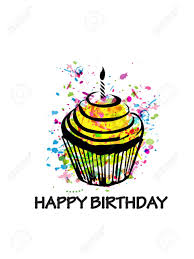 Colorful Happy Birthday Cupcake Greeting Card Royalty Free Cliparts Vectors And Stock Illustration Image 118423646