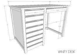 diy vanity desk with modern hardware pulls