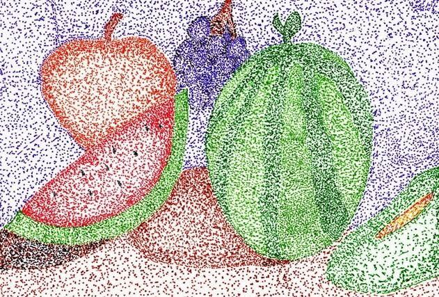 """Hasil gambar untuk hd teknik pointilis apel berwarna"""""""
