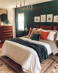 green walls master bedroom midcentury