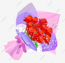 مرسومة باليد باقة ورد الإبداعية مرسومة باليد رسوم متحركة الزهور