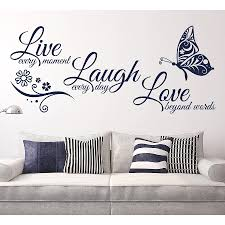 Live Laugh Love Butterfly Flower Wall Art Sticker Modern Wall Decals Quotes Vinyls Stickers Wall Stickers Home Decor Living Room Belenydogen