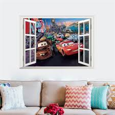 Creative Home Decor 3d Fake Window Wall Stickers Cartoon Movie Cars Pattern For Kids Baby Room Mural Art Wallpaper Cheap Removable Wall Decals Cheap Tree Wall Decals From Totwo2 13 84 Dhgate Com