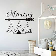 Tribal Tents Wall Decal Customized Baby Names Wall Sticker Arrows Design Tent Vinyl Wall Art Decals Woodland Vinyl Art Az1003 Wall Stickers Aliexpress
