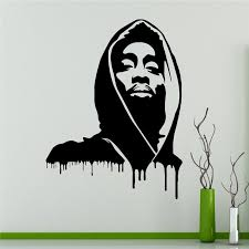 2018 Limited Wall Stickers Tupac Shakur Wall Decal 2pac Vinyl Sticker Rapper Hip Hop Home Interior Bedroom Decor Design X037 Wall Stickers Aliexpress
