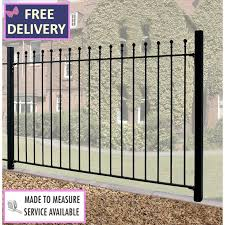 Manor Metal Ball Top Fence Panel 6ft Wide By 4ft High