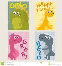 Sistema De 4 Plantillas De Las Tarjetas Con Los Dinosaurios Para