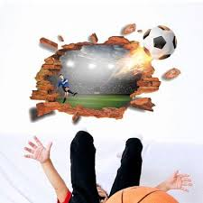 Creative Football 3d Wall Decals Stickers Cracked Wall Effect Mural Decals For Bedroom Living Room Buy At A Low Prices On Joom E Commerce Platform