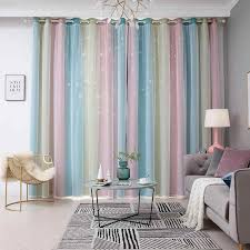 100x250cm Romantic Rainbow Color Sheer Curtain Girl Kids Bedroom Full Blackout Window Drapes Hollow Star Curtain Home Decor Curtains Aliexpress