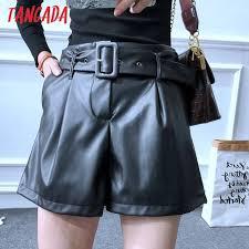 tangada women elegant pu leather shorts