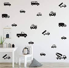 Amazon Com 36pcs Set Kinds Of Cars Trucks Pattern Wall Decor Sticker Art Vinyl Wall Decal For Boys Room Kids Nursery Playroom Bedroom Wall Decals Black Arts Crafts Sewing