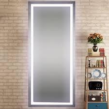 led lighted salon mirror full length in