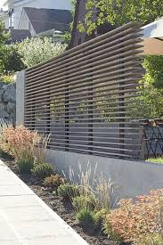 Contemporary Garden Fence Ideas Grey Tone Horizontal Slats On Black Piping Modern Fence Design Fence Design Modern Landscaping