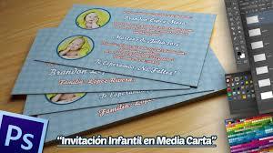 Invitacion Infantil Tamano 1 2 Carta En Photoshop Youtube