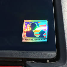Support Our Troops Female Soldier Child Logo Bumper Sticker Car Decal Holographic Support Our Troops